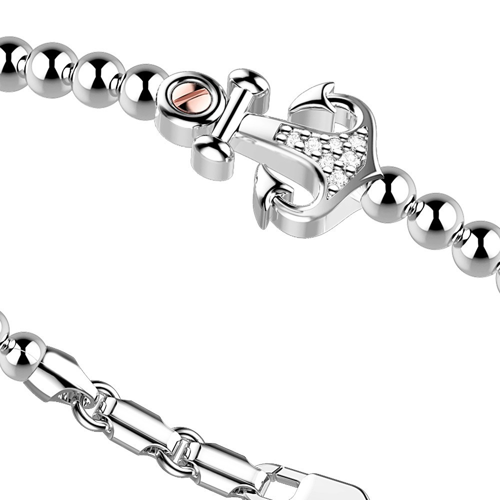 Silver Bracelet with white sapphires and rose gold details