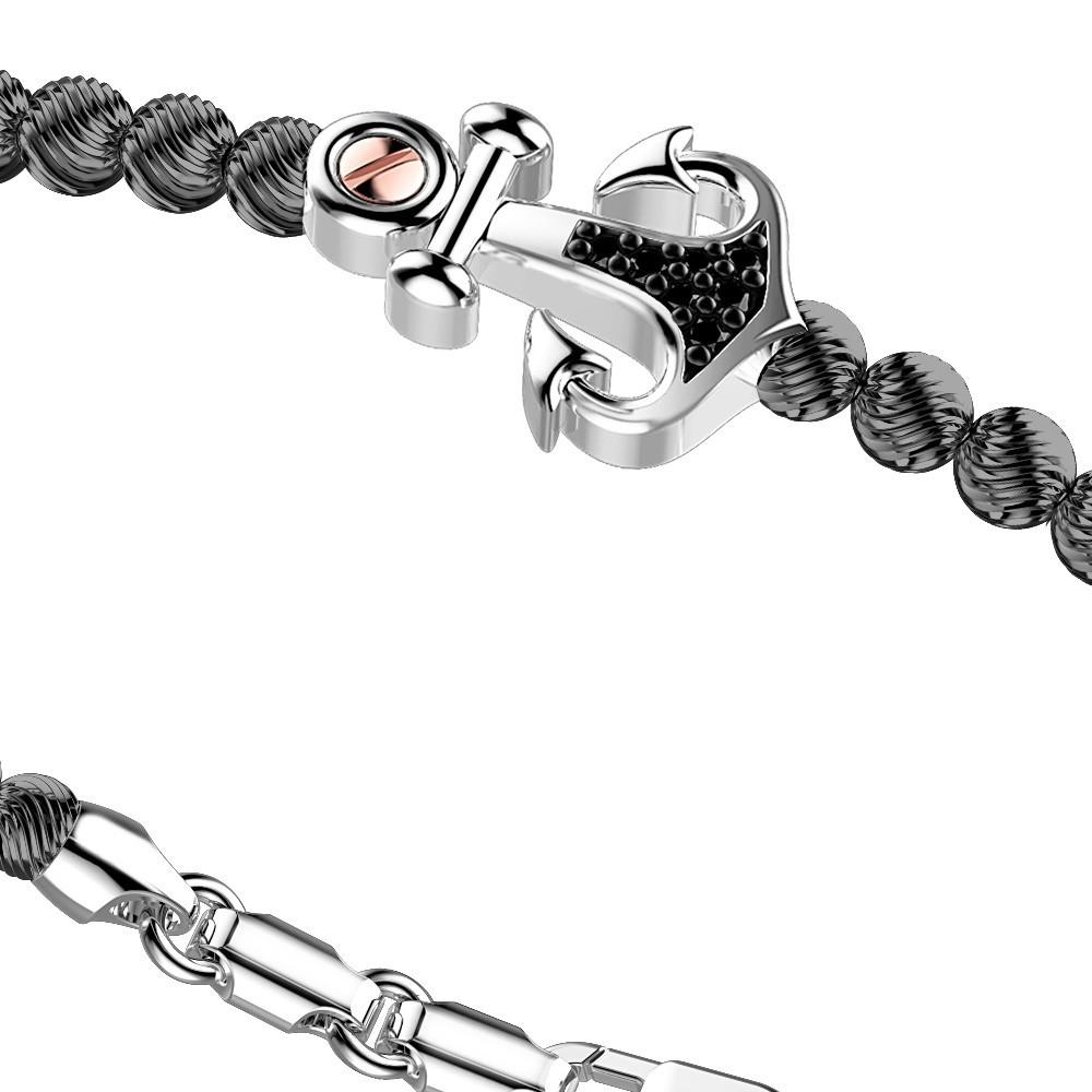 Silver Bracelet with black spinels and rose gold details