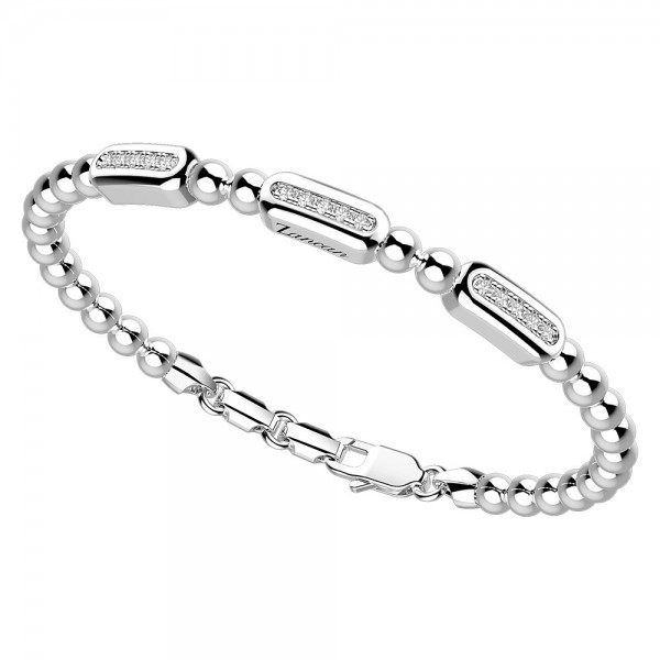 Silver  bracelet with white sapphires
