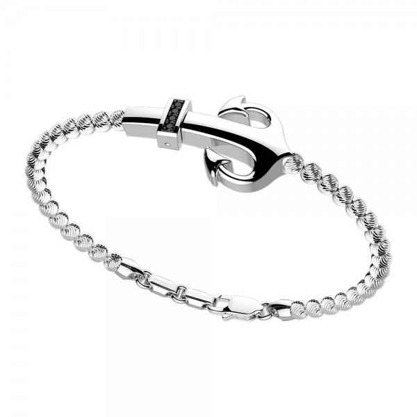 silver  bracelet and black spinels.