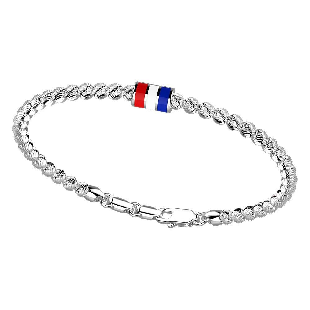 Bracciale in argento con sfere striate e bandiera smaltata.