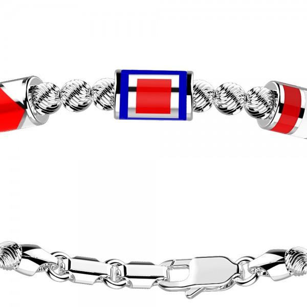 Bracciale in argento con sfere striate e 3 bandiere marine.