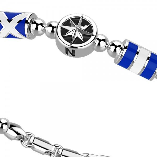 Bracciale in argento con sfere, stella e bandiere marine.