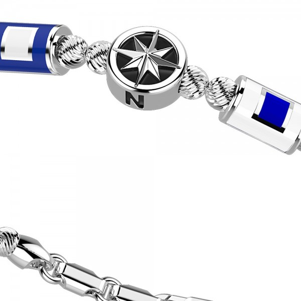 Bracciale in argento con sfere striate bandiere e stella.