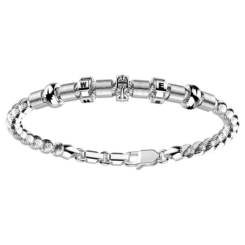 Bracciale in argento con sfere striate ed elementi nautici.