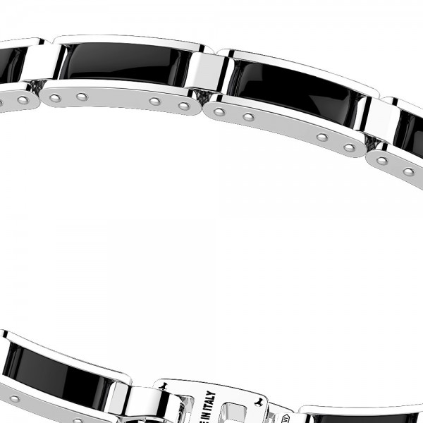Silver and black ceramic bracelt