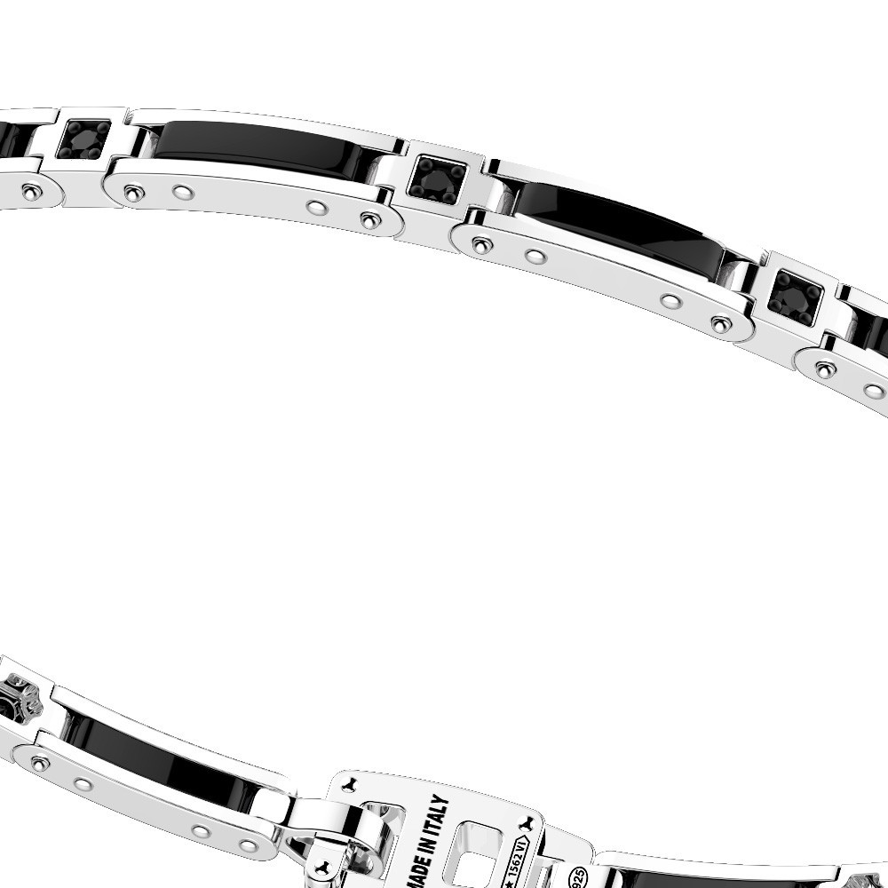 Silver and white ceramic bracelt with white sapphires