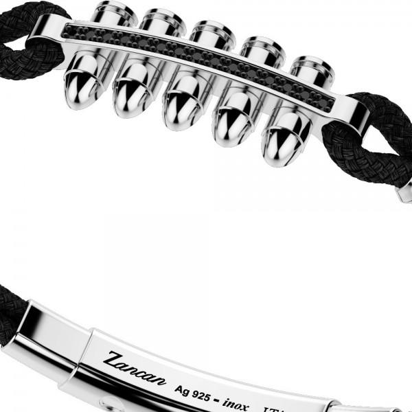 silver bracelet, black spinels and black kevlar