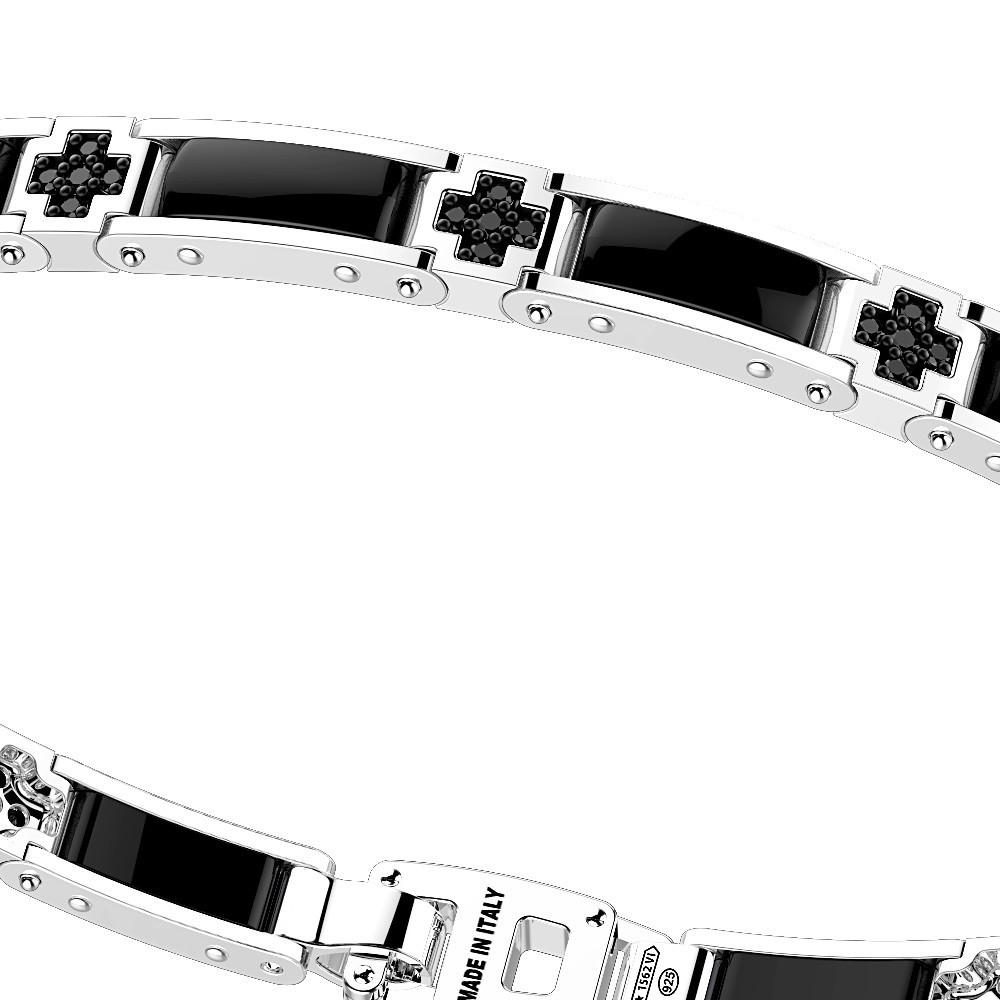 Silver and black ceramic bracelt and black spinels