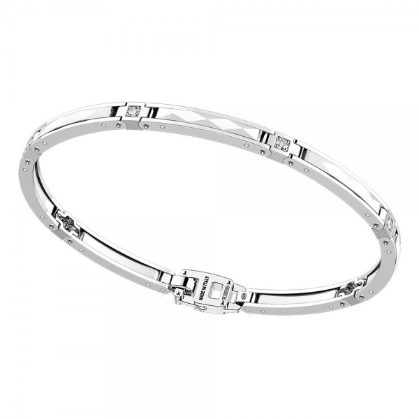 Silver and white ceramic bracelt and white sapphires