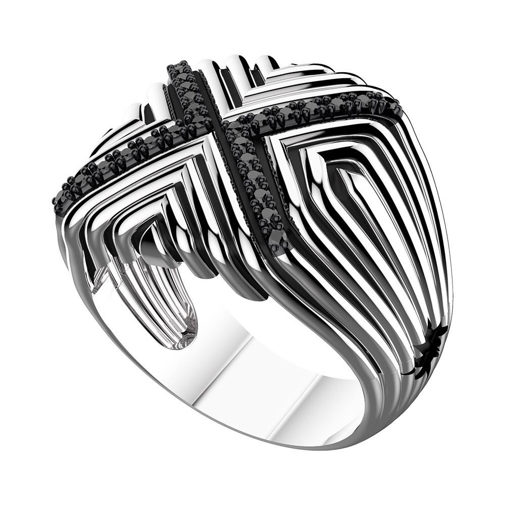 Anello in argento con motivo a X e spinelli neri.