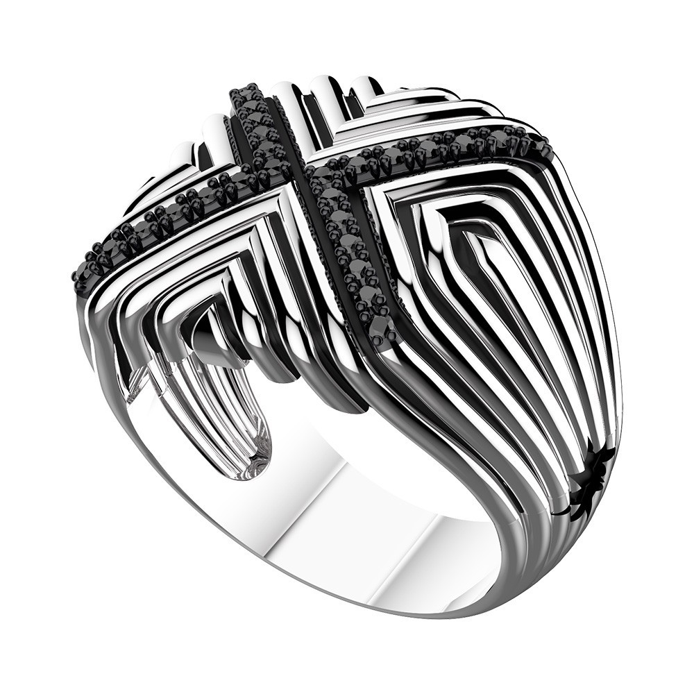Silver ring with black spinels