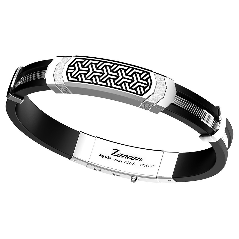 silver bracelet and black silicone