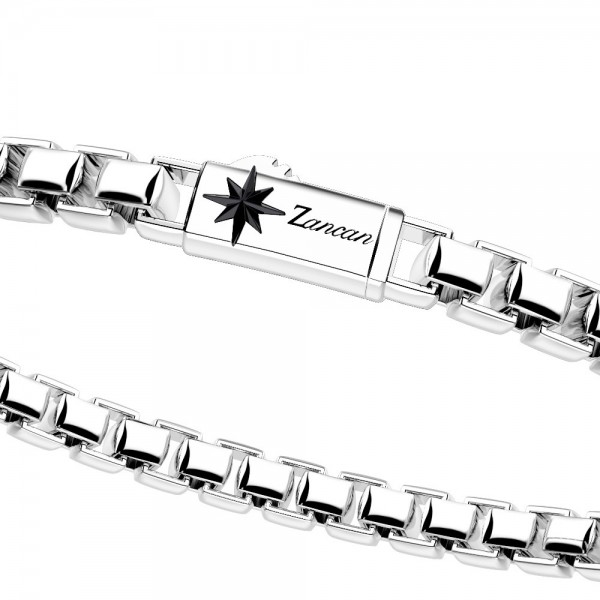 Box link chain silver bracelet with compass decoration