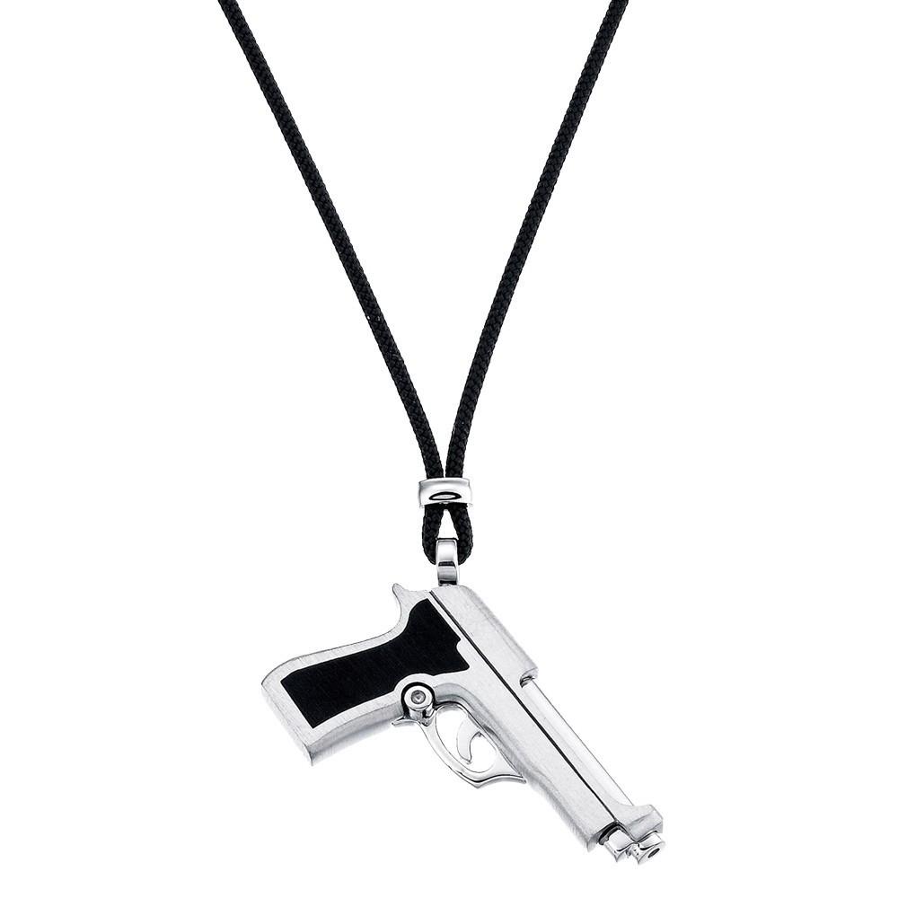 Silver necklace with black kevlar and black enamelled details