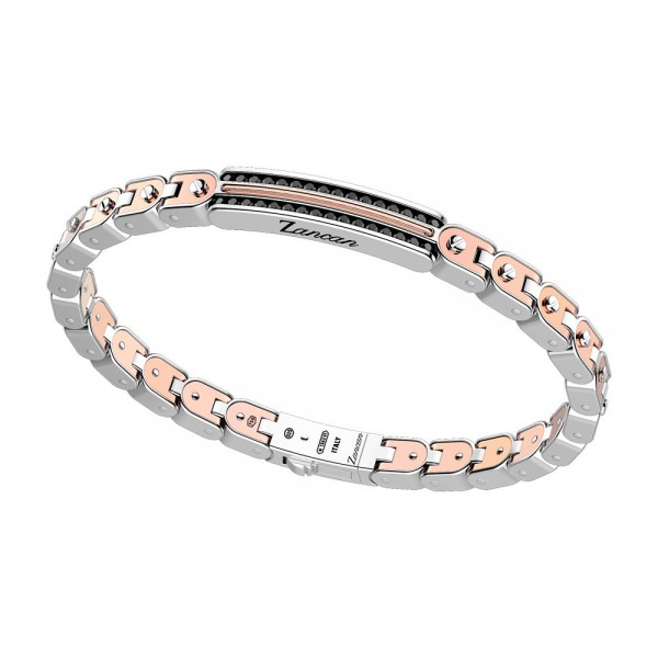 Silver and gold bracelt with black spinels.