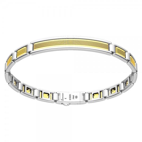 Bracciale in oro ed argento con placca.