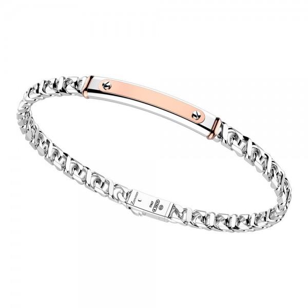 Silver bracelet with rose gold insert.