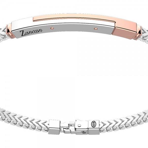 Bracciale in argento con inserto in oro rosa.