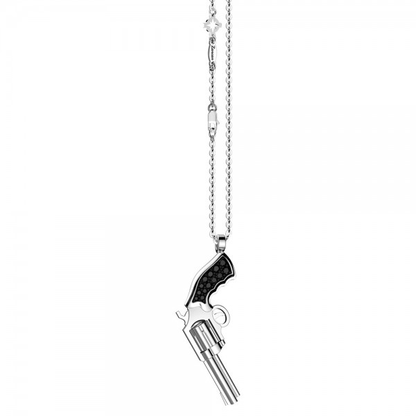 Silver necklace with black spinels