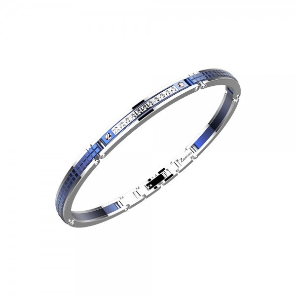 Bracelet in blue color stainless steel with white sapphires.