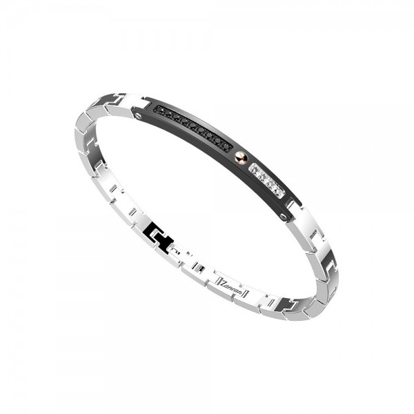 Bracelet in stainless steel with white sapphires and black spinels.
