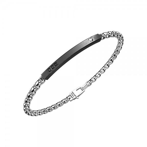 Bracciale in acciaio con catena e spinelli neri.