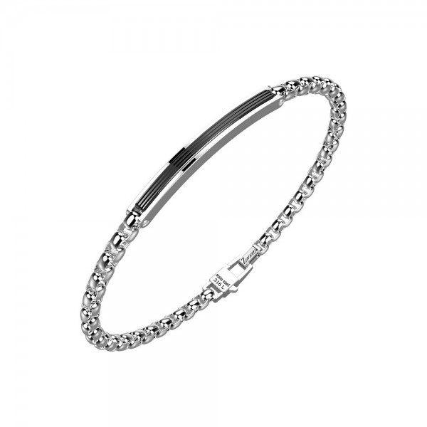 Bracelet in stainless steel with chain and black plate.