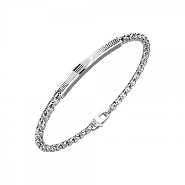 Bracelet in stainless steel with chain and rigid plate.