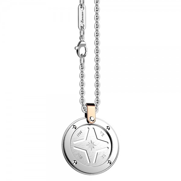 Stainless steel necklace with round medal.
