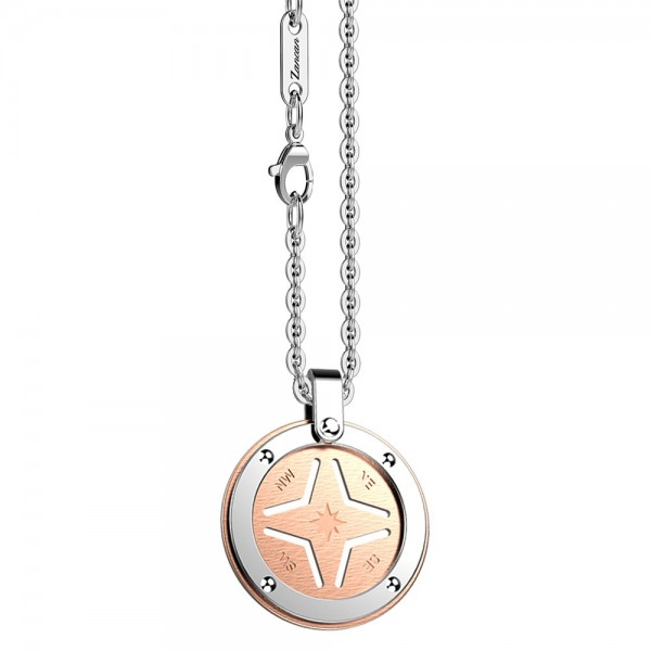 Stainless steel necklace with rose round medal.