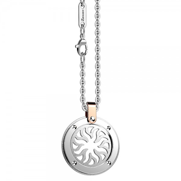 Stainless steel necklace with sun on the round medal.