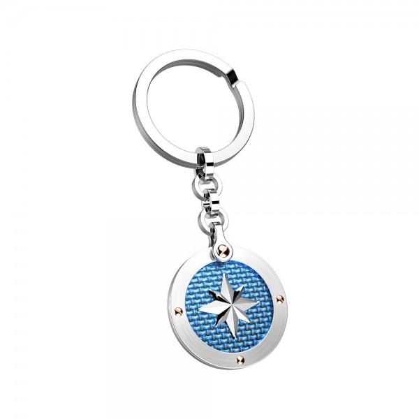 Portachiavi in acciaio con medaglia blu.
