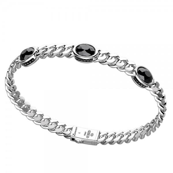 Silver bracelet with onyx stones
