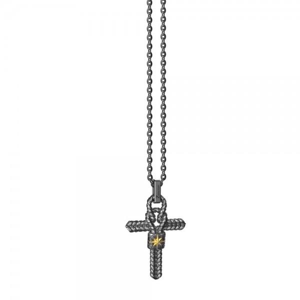 Collana  in argento  con croce e nodo piccolo.