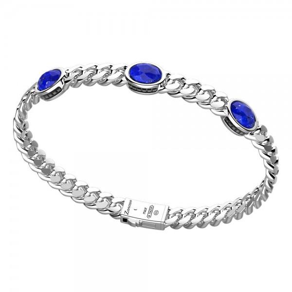 Silver bracelet with Lapis stones