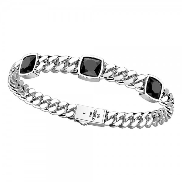 Silver bracelet with three natural onyx stones.