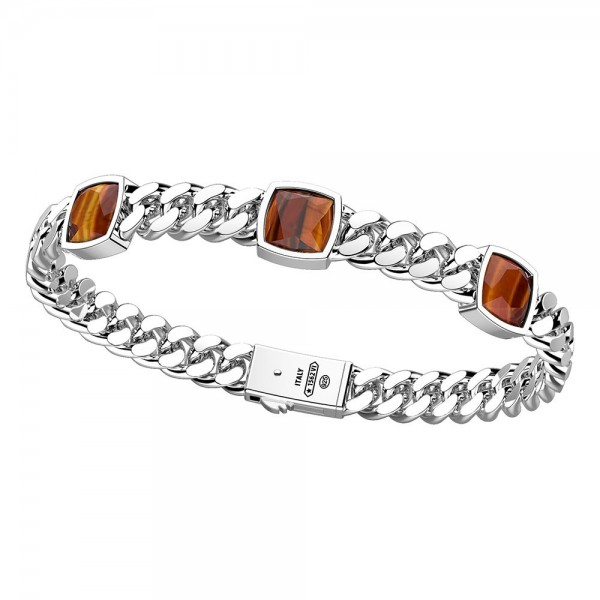 Silver bracelet with three natural tiger's eye stones.