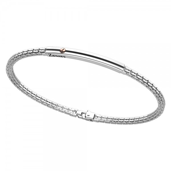Silver bracelet with pink gold screw.