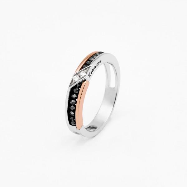 White and rose gold men's ring