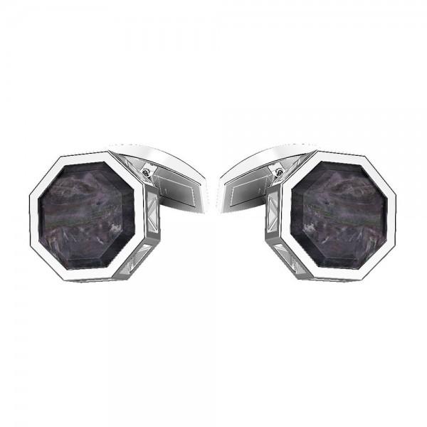 Gemelli in argento con madre perla nera.