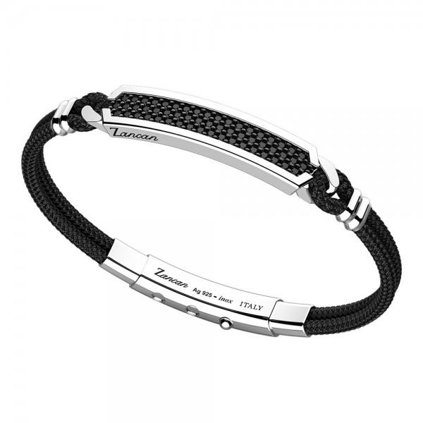 Bracciale in kevlar nero e piastra centrale con spinelli neri.