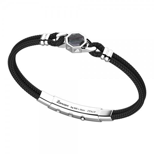 Bracciale in argento e kevlar nero con pietra esagonale in madre perla nera.