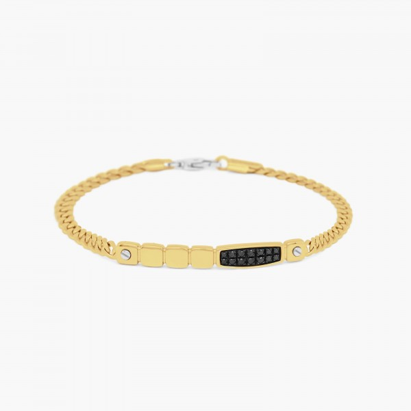 Yellow gold men's bracelet, with geometric design.