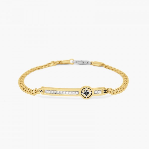 Yellow gold men's bracelet, embellished with a plate.