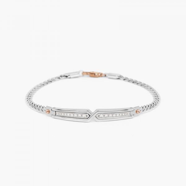 White gold men's bracelet, with geometric design.