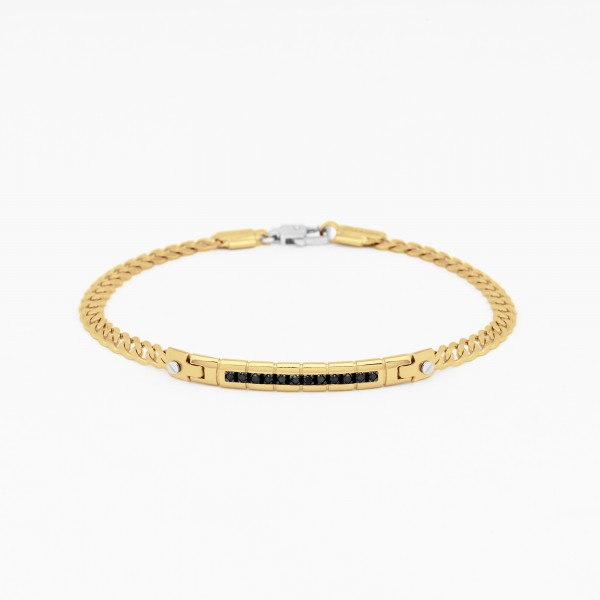 Yellow gold men's bracelet with details in white gold.