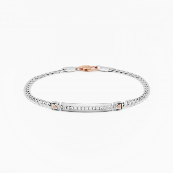 White gold men's bracelet, embellished with a plate with diamonds.