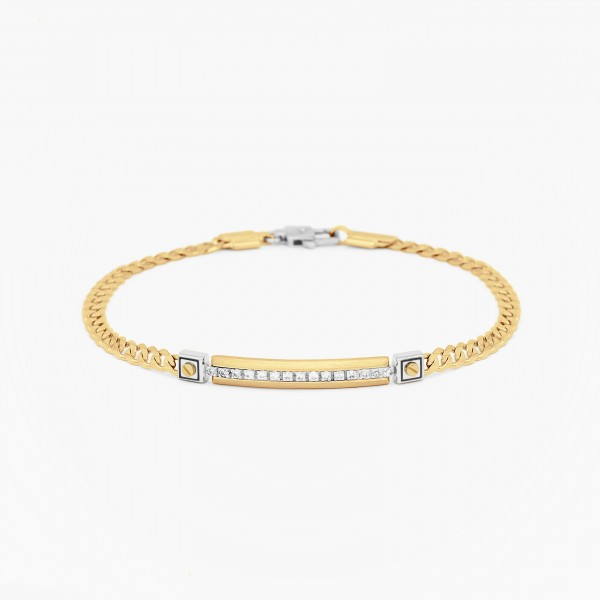 Yellow gold men's bracelet, embellished with a plate with diamonds.
