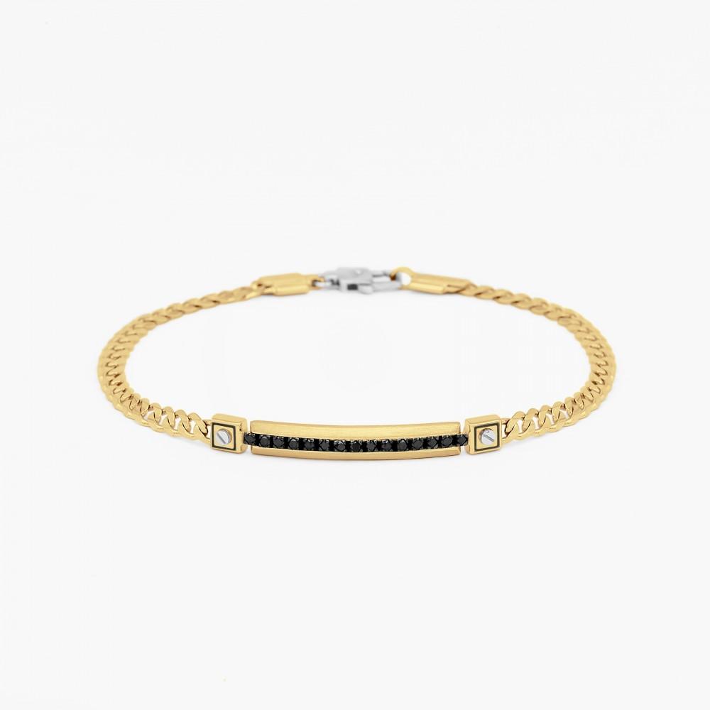 Bracciale da uomo in oro giallo con piastra centrale in diamanti neri.